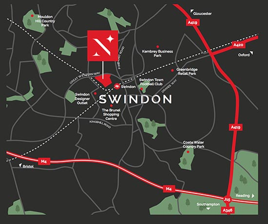 Location map for North Star Village, Swindon
